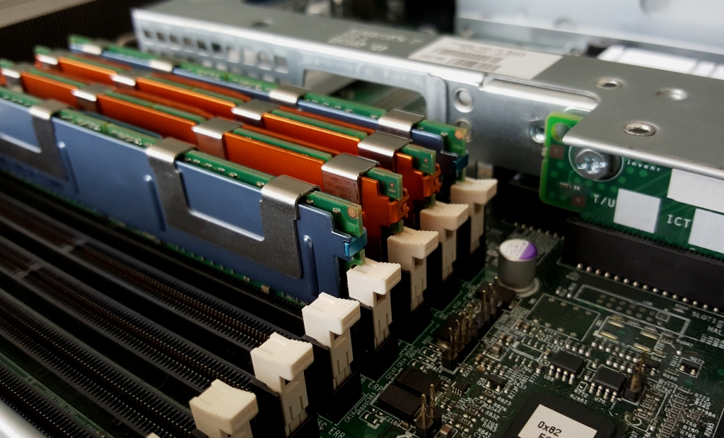 Close up memory socket on board computer server